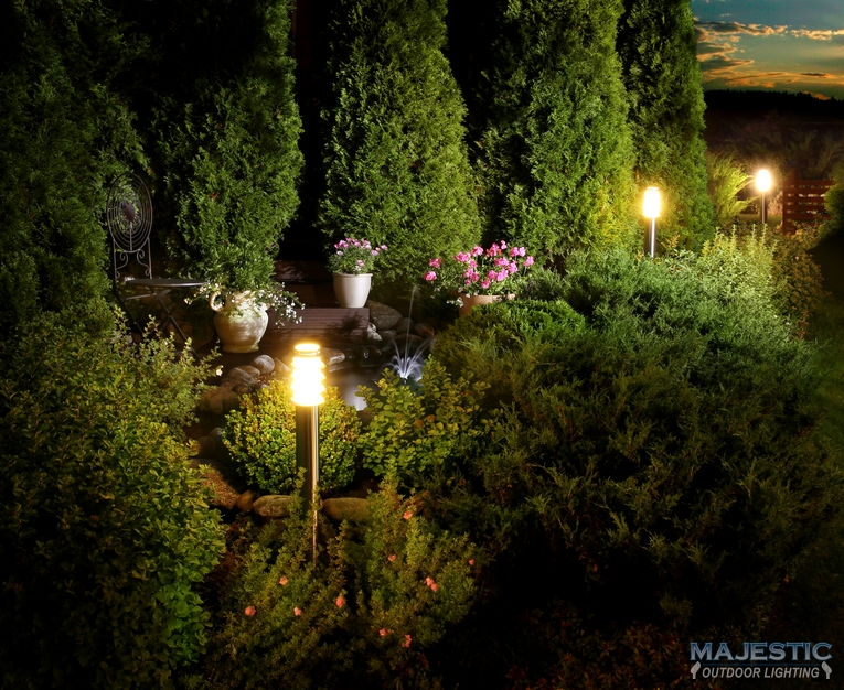 A Picture of an Illuminated Home Garden.