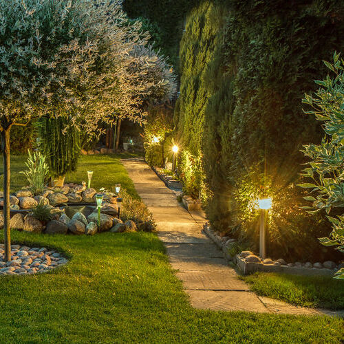 landscape lighting repair on pathway