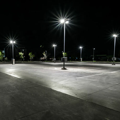 An Empty Well-Lighted Parking Lot