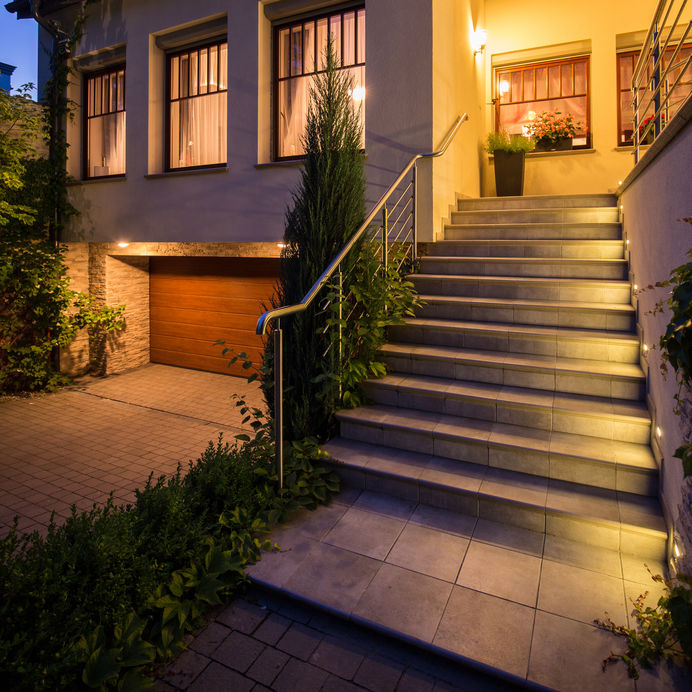 Outdoor lighting on exterior of home